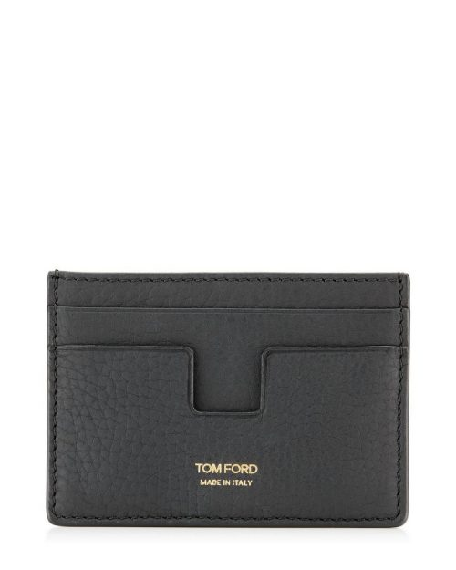 Tom Ford Black Grained Leather Classic Card Holder