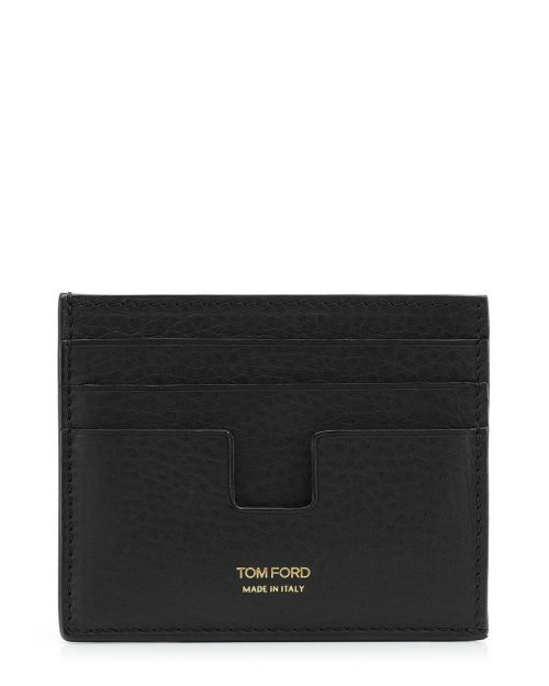 Tom Ford Black Grained Leather Open Side Card Holder