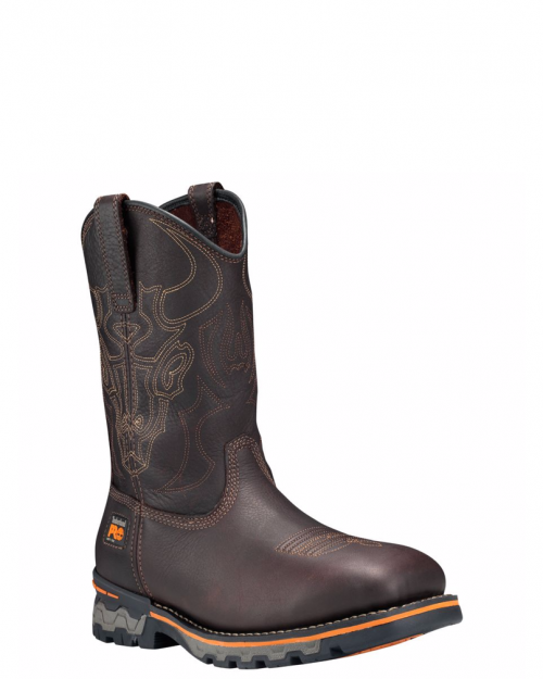 Timberland Pro Independence Square Brown Waterproof  Soft Toe Pull-on Boots
