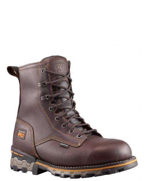 "Timberland Pro 8"" Boondock Brown Full-Grain Comp Toe Work Boot"
