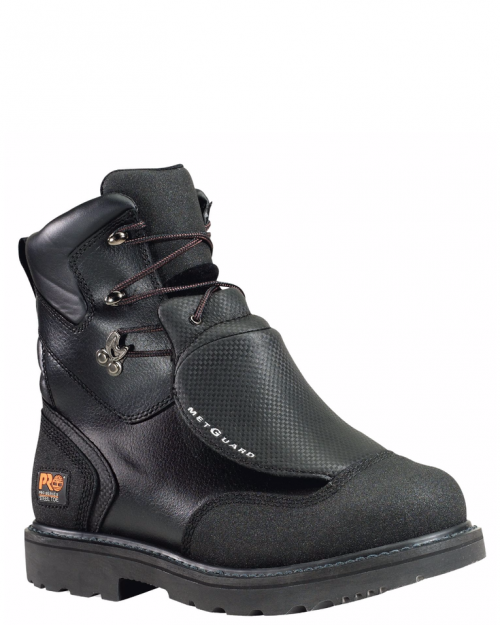"Timberland Pro 8"" Met Guard Black Full-Grain Steel Toe Work Boot"