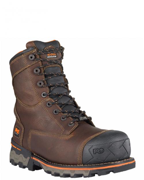 "Timberland Pro 8"" Boondock Waterproof Brown Full-Grain Comp Toe Work Boot"