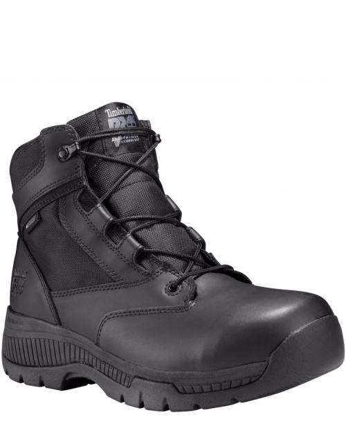 "Timberland Pro 6"" Valor Black Smooth Soft Toe Work Boots"